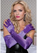 Satin Opera Length Gloves-purple O/s