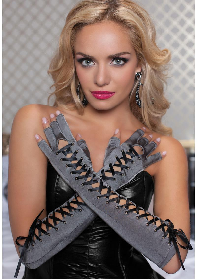 Fingerless Elbow Gloves - Gray - Os