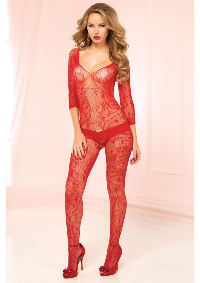3/4 Sleeve Opencrotch Bodystocking-red-o