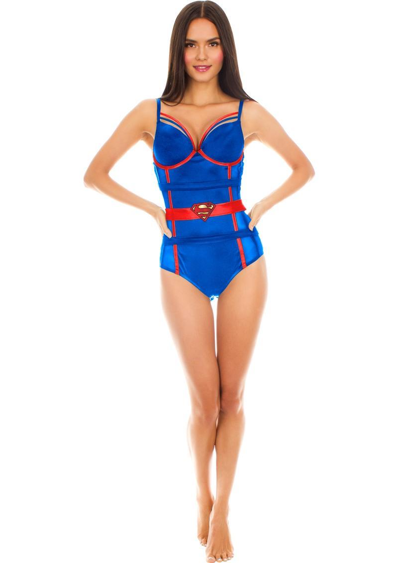 Superman Satin/mesh Body Suit-medium