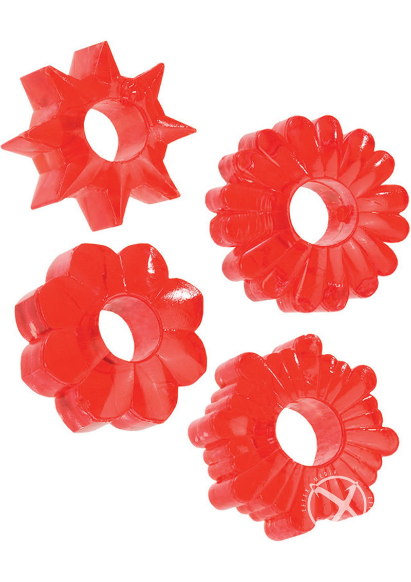 Basic Essentials Super Stretchy Enhancer Cock Rings - Red