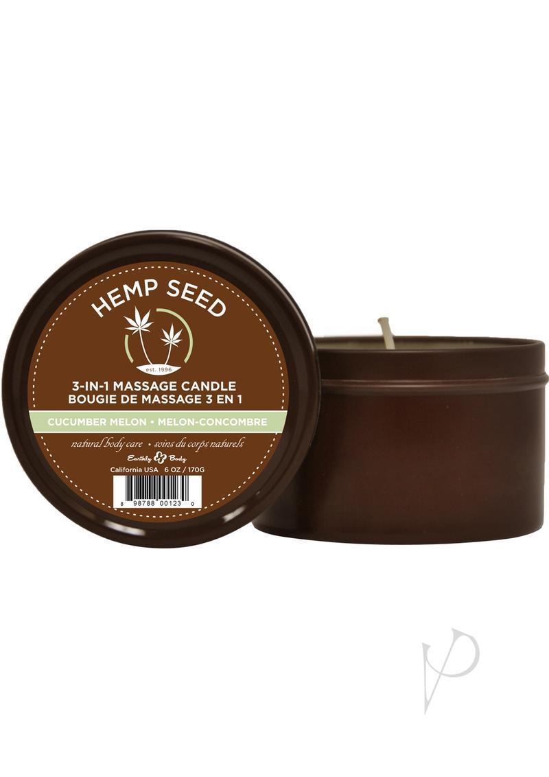 Earthly Body Hemp Seed 3 In 1 Massage Candle - Cucumber Melon 6oz